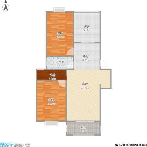 长阳花园2室1厅1卫1厨107.00㎡户型图