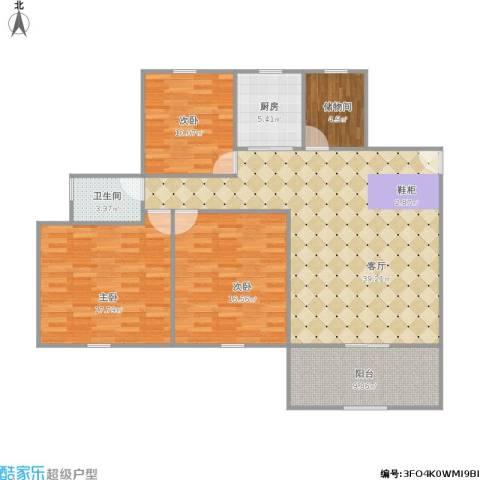 中海胥江府3室1厅1卫1厨143.00㎡户型图
