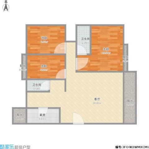 香晖园3室1厅2卫1厨87.00㎡户型图