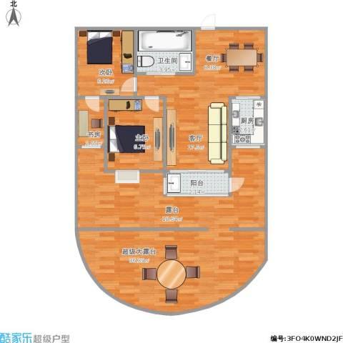 现代家园3室1厅1卫1厨107.00㎡户型图