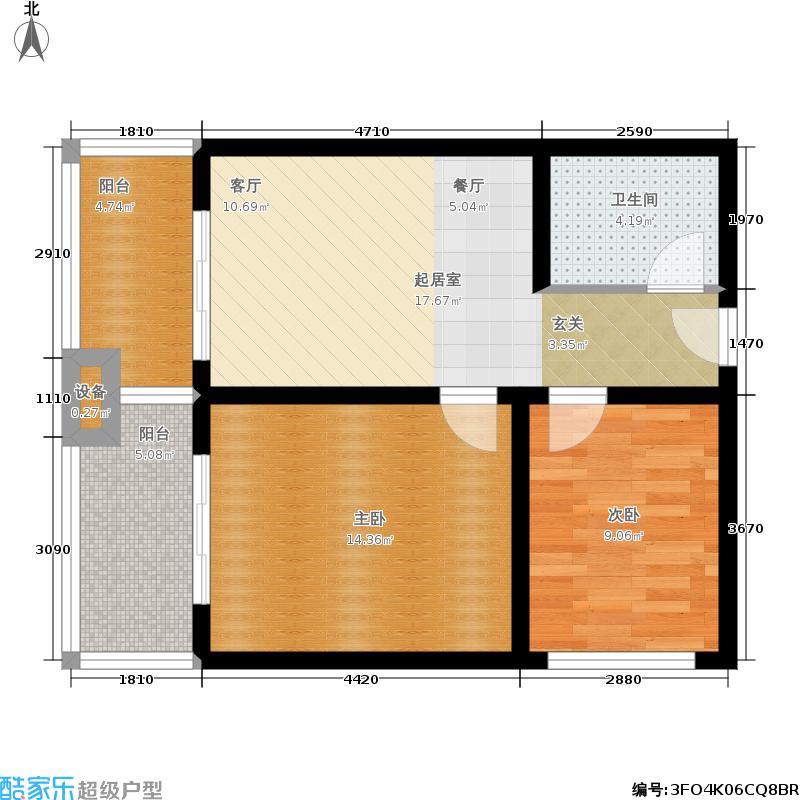 龙沐湾1号海景公馆64.00㎡B户型