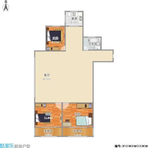 育阳小区3室1厅1卫1厨154.00㎡户型图