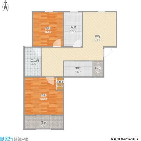 青年公社2室2厅1卫1厨92.00㎡户型图