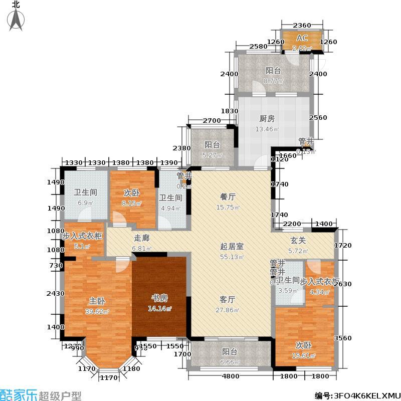 中海城南1号195.00㎡H1户型 3室2厅3卫户型3室2厅3卫