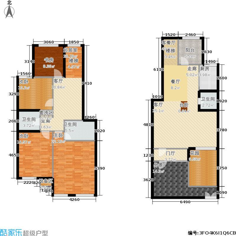 长城花园西区B-1户型五室三厅三卫户型