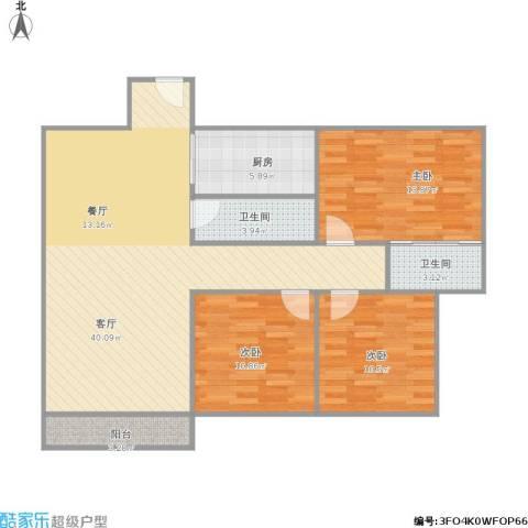 颐景新城3室1厅2卫1厨123.00㎡户型图