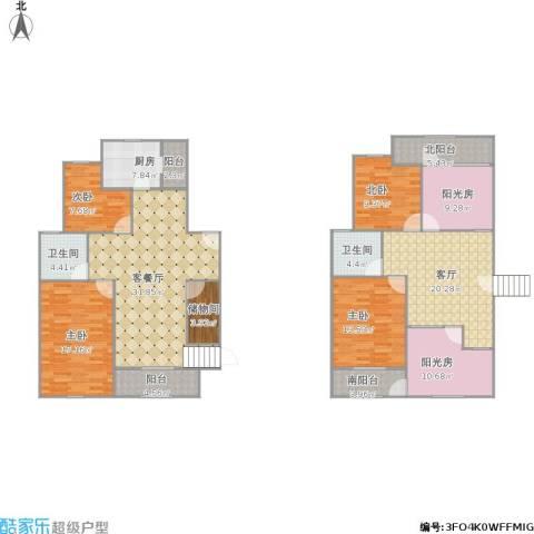 紫元阳光水榭3室2厅2卫1厨206.00㎡户型图