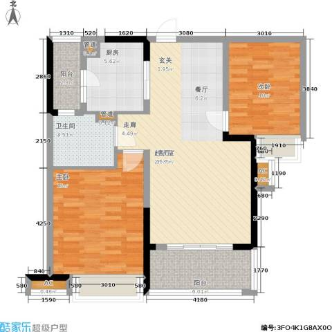 南山国际社区2室0厅1卫1厨85.00㎡户型图