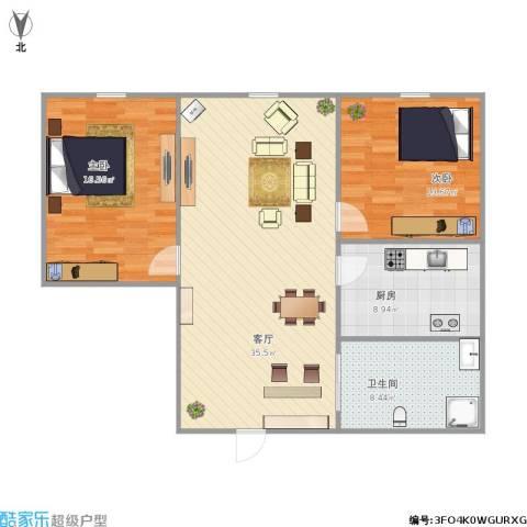 博达雅居2室1厅1卫1厨110.00㎡户型图
