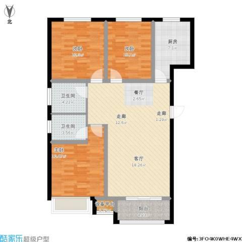 金港花园3室1厅2卫1厨124.00㎡户型图