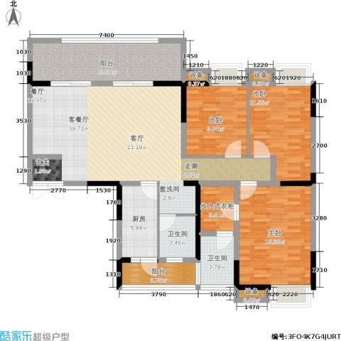 紫金阳光城3室1厅2卫1厨162.00㎡户型图
