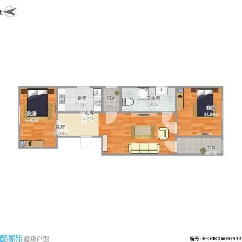 田村39号院2室1厅1卫1厨82.00㎡户型图