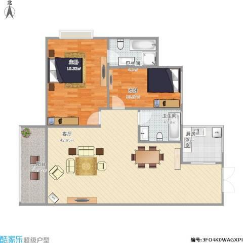 新芙蓉之都2室1厅2卫1厨124.00㎡户型图