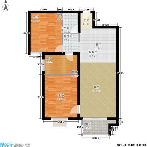 悦澜湾2室1厅1卫1厨89.00㎡户型图