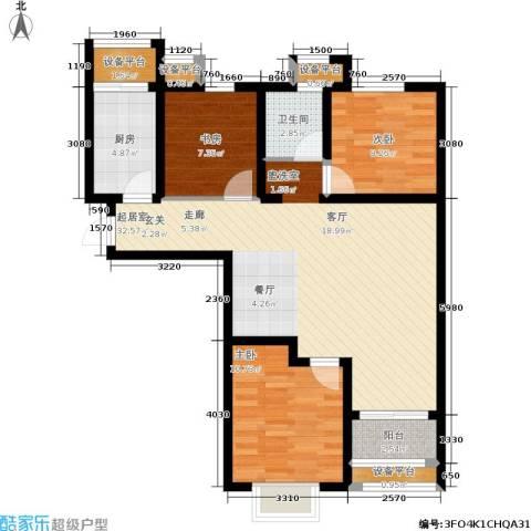红星国际广场西苑3室0厅1卫1厨86.00㎡户型图