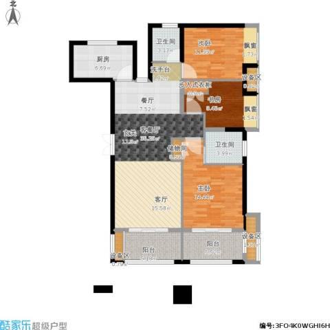 绿地海域苏河源3室1厅2卫1厨141.00㎡户型图