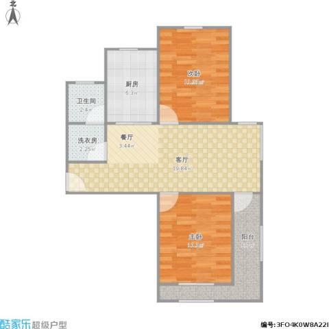 青年公社2室1厅1卫1厨80.00㎡户型图