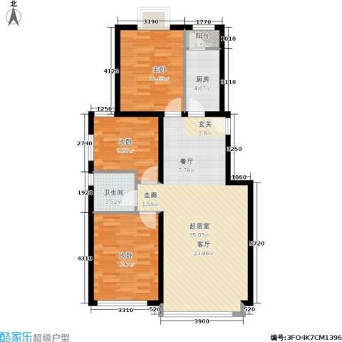 温莎公馆3室0厅1卫1厨109.00㎡户型图