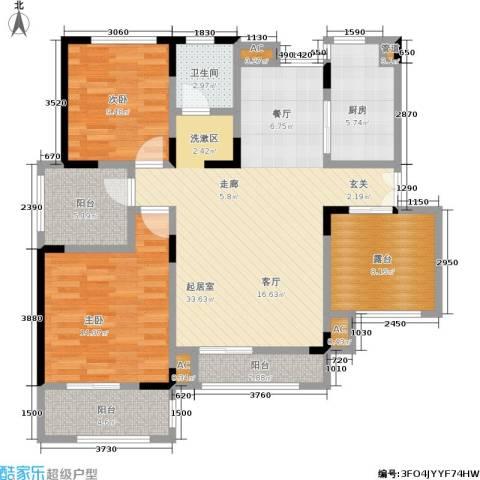 北江锦城2室0厅1卫1厨101.00㎡户型图