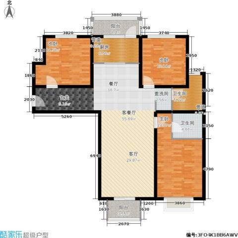 悦澜湾3室1厅2卫1厨144.00㎡户型图