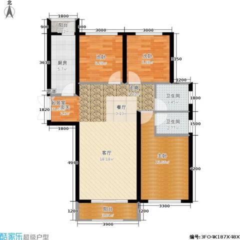 月亮湾3室0厅2卫1厨112.00㎡户型图