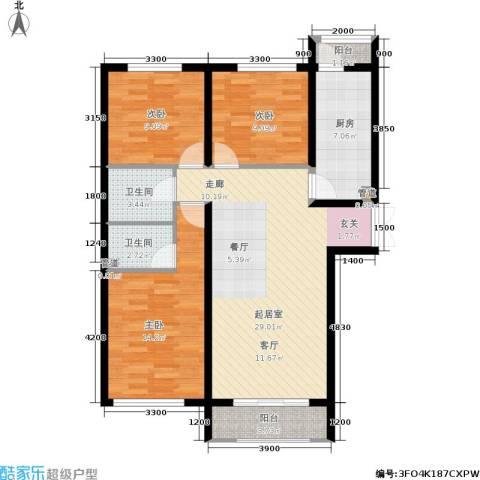 月亮湾3室0厅2卫1厨114.00㎡户型图