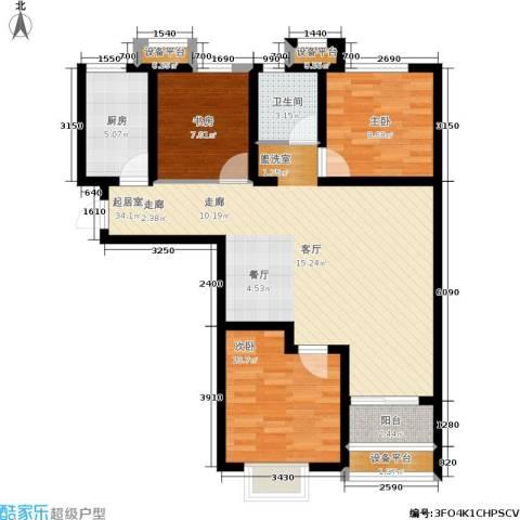 红星国际广场西苑3室0厅1卫1厨86.93㎡户型图
