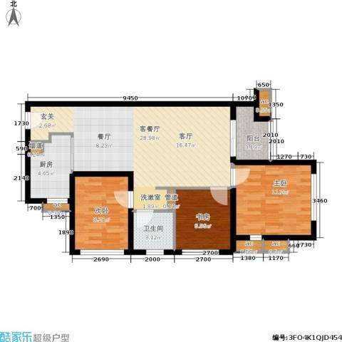 万科公园里3室1厅1卫1厨79.78㎡户型图