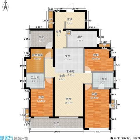 万科公园里3室1厅2卫1厨147.16㎡户型图