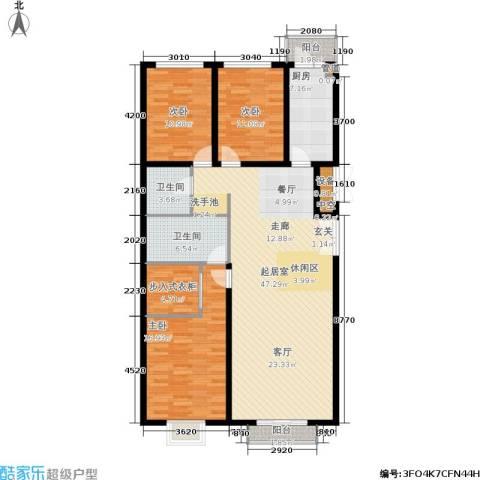 宏洋美都3室0厅2卫1厨160.00㎡户型图