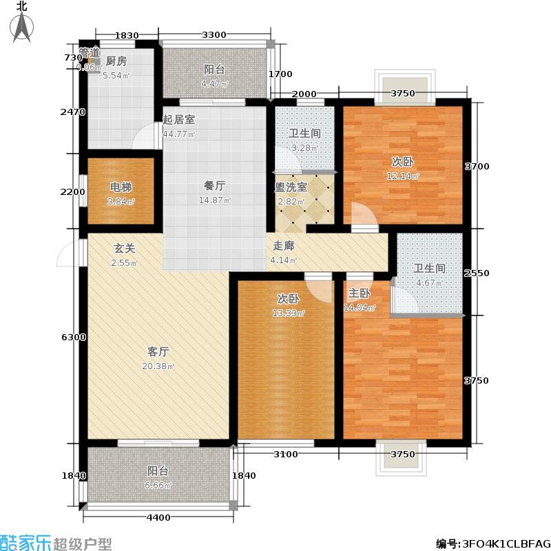 银海花园136.53㎡3号楼二户型