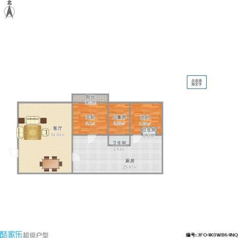华丽西村3室1厅2卫1厨111.00㎡户型图