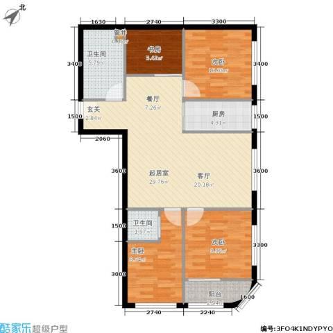 凤城国际广场4室0厅2卫1厨88.31㎡户型图