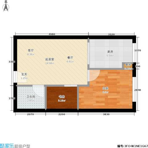 凤城国际广场2室0厅1卫1厨40.50㎡户型图