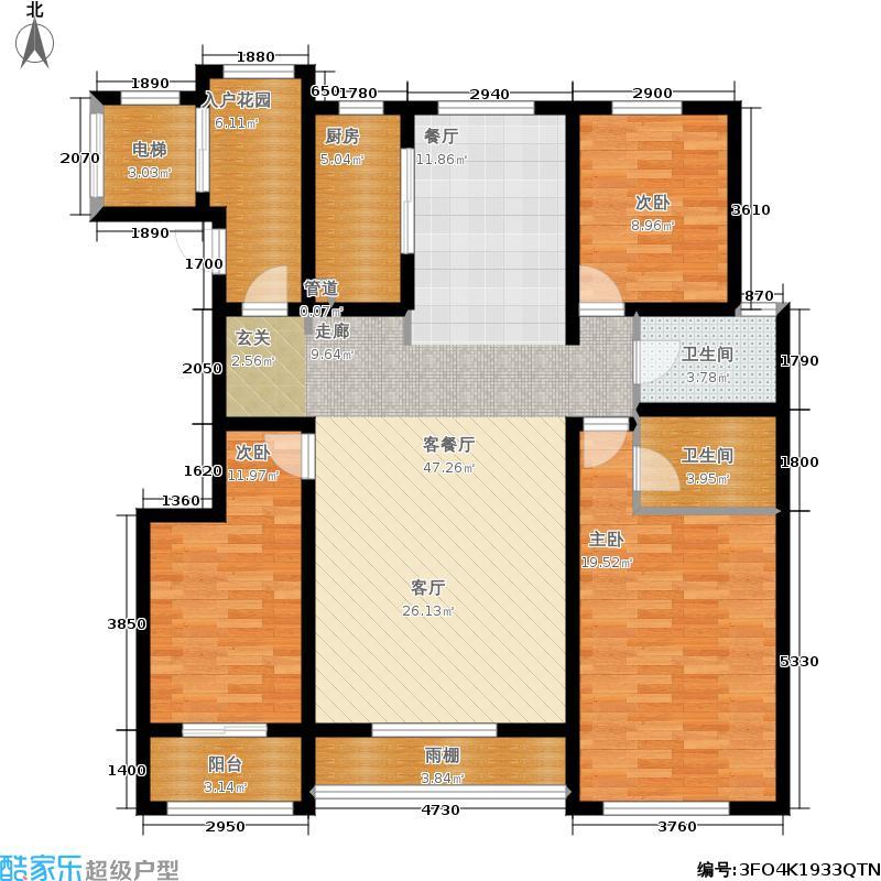 清山公爵城10#H4-2层三居户型
