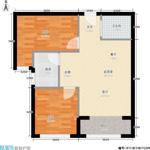 凤城国际广场2室0厅1卫1厨57.90㎡户型图