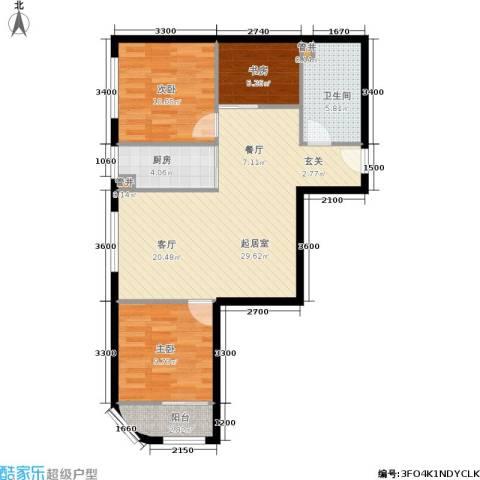 凤城国际广场3室0厅1卫1厨75.77㎡户型图