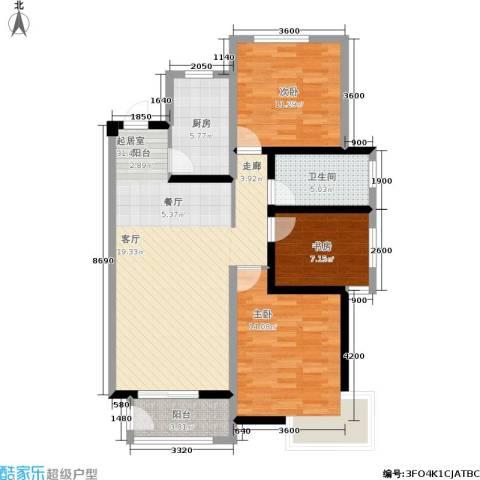 宏宇城3室0厅1卫1厨113.00㎡户型图