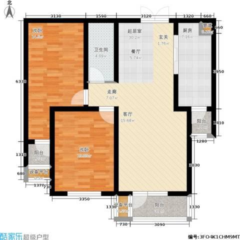 红星国际广场西苑2室0厅1卫1厨89.00㎡户型图