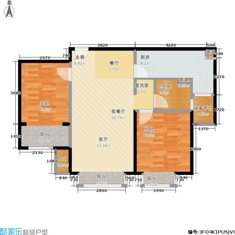 鲁能·7号院88.00㎡二期溪园A户型2室2厅