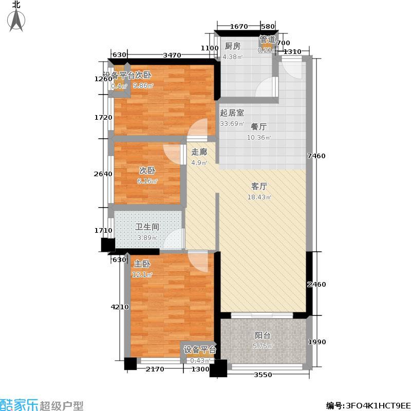 百信御江帝景89.00㎡二期3#、5#03、05单元3室户型