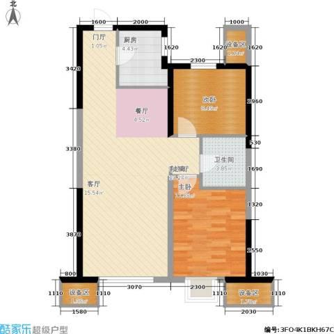 抚顺万达广场2室1厅1卫1厨95.00㎡户型图