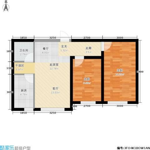 巴黎经典花园2室0厅1卫1厨73.00㎡户型图