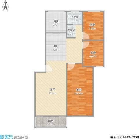 时代雅居3室1厅1卫1厨103.00㎡户型图