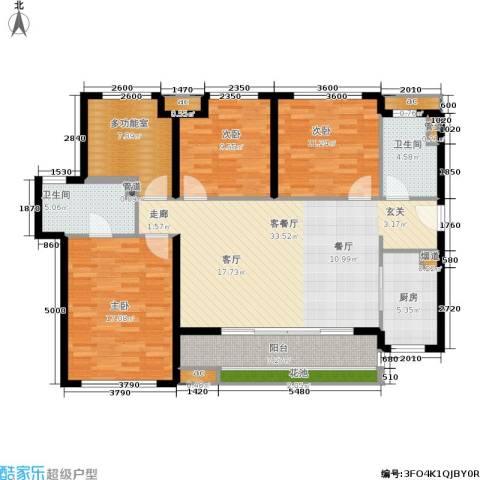万科公园里3室1厅2卫1厨120.70㎡户型图