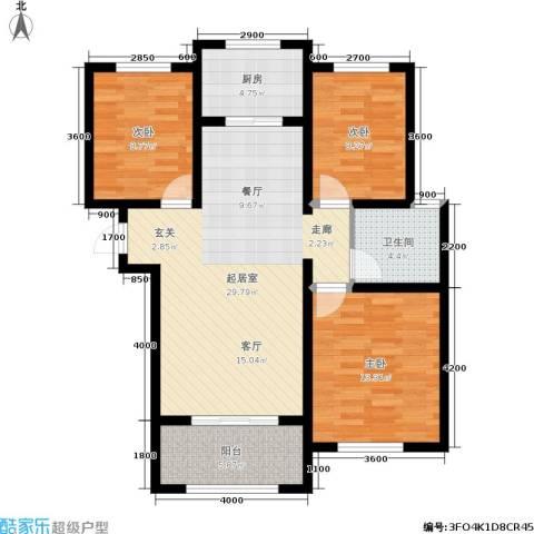 名士豪庭3室0厅1卫1厨117.00㎡户型图