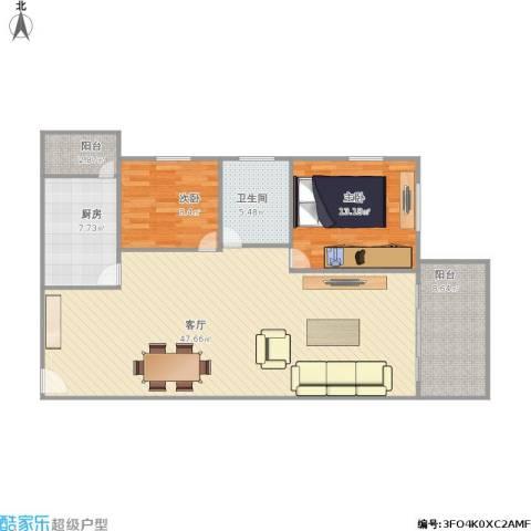 美丽家园南区2室1厅1卫1厨125.00㎡户型图