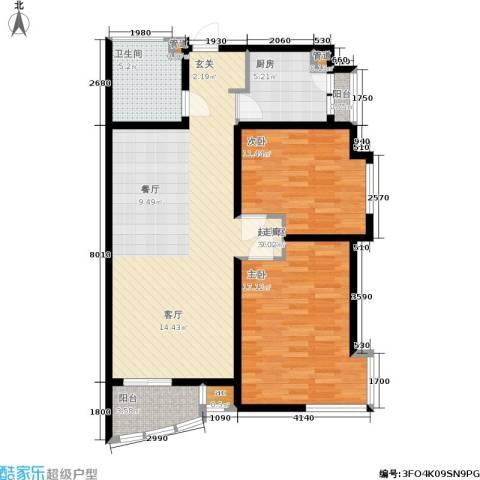 凯摩国际公寓2室0厅1卫1厨100.00㎡户型图