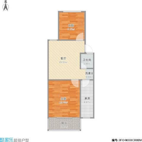凤凰花园城2室1厅1卫1厨64.00㎡户型图
