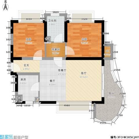 三亚・一山湖2室1厅1卫1厨77.00㎡户型图